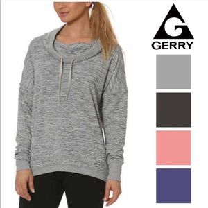 Gerry | cowl neck gray space dye pullover S